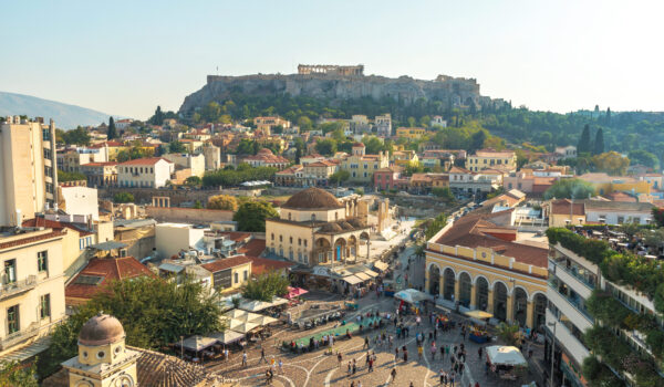ATHENS, GREECE - October 30, 2019: Panoramic view of the Acropolis of Athens. Greece.